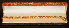 Barbara Mandrell MONET Multi-colored Gemstone Goldtone Tennis Bracelet New in Box without tags