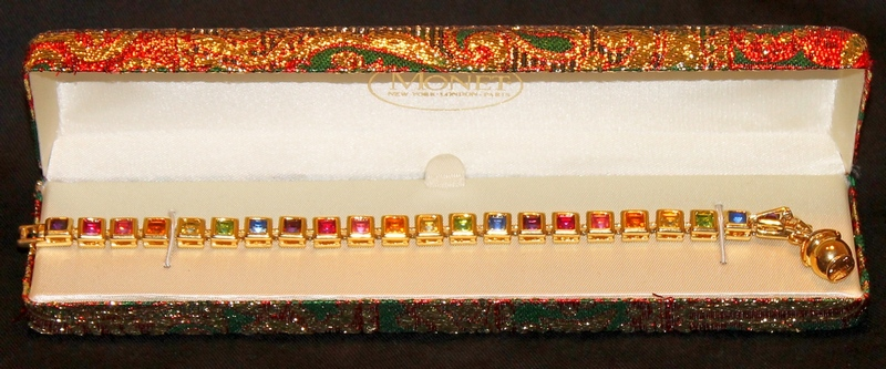 Barbara Mandrell MONET Goldtone Bezel Set Rhinestone Tennis Bracelet New in Box without tags