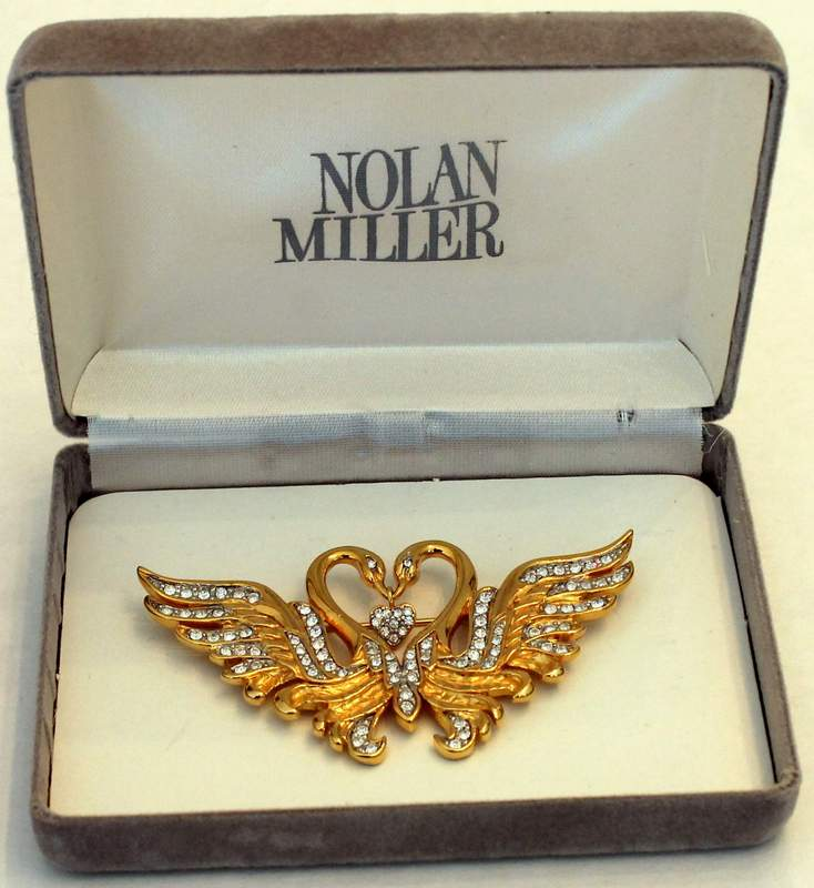 Nolan Miller Vintage Double Kissing Swans Brooch with Dangle Heart Pin