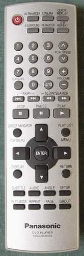Panasonic N2QAJB000105 Remote for Portable DVD Player