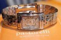 Pastorelli Silvertone Rectangle Case Bracelet Watch by Invicta