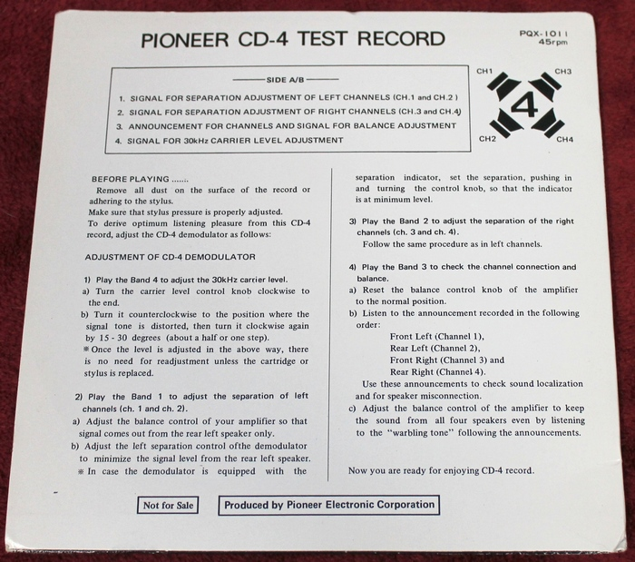 Back Cover of the PIONEER CD-4 TEST RECORD Quadraphonic 7 inch Quad & Stereo 45-RPM Promo PQX-1011 Japan