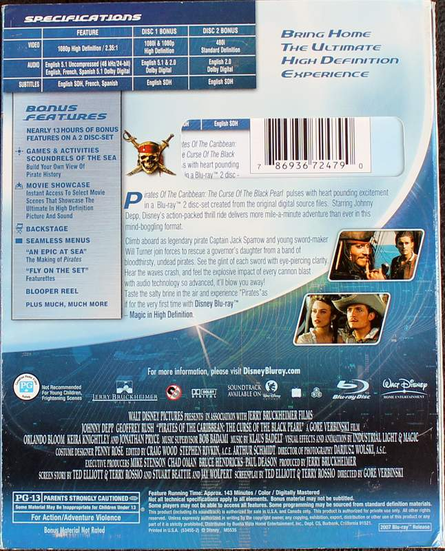 Pirates of the Caribbean: The Curse of the Black Pearl - Special Disney Blu-ray 2 Disc Set 2007
