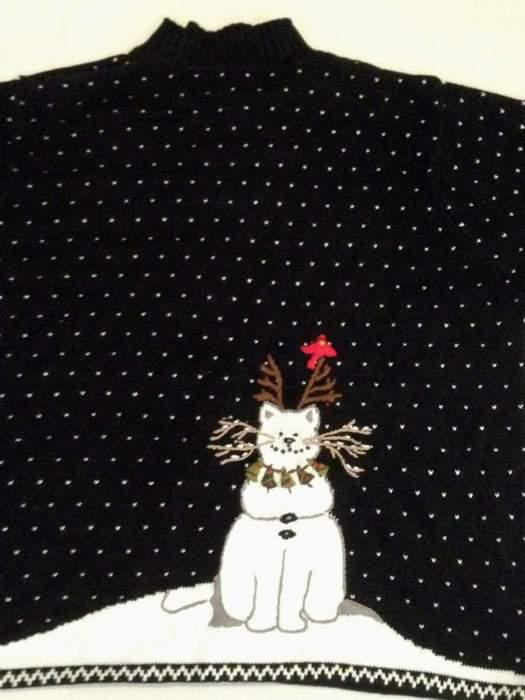 Quacker Factory Snowcat Zip Front Cardigan QVC #A60413 Size 2X (Back detail)