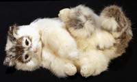 Lifelike Rabbit Fur Reclining Cat