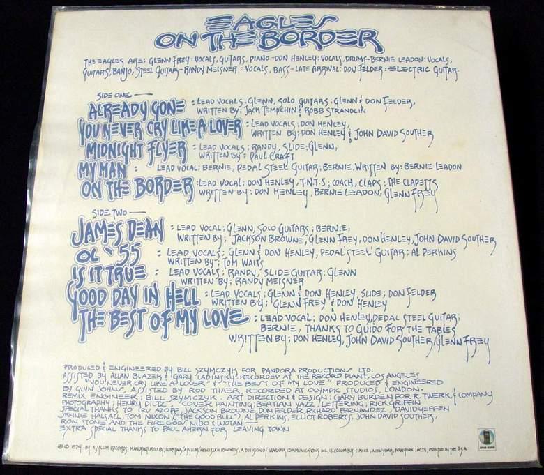 THE EAGLES On The Border LP 1974 ASYLUM RECORDS 7E-1004