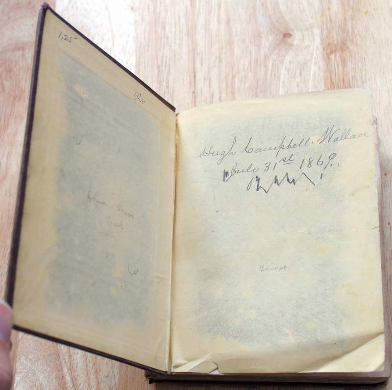 "This book belonged to ""Hugh Campbell Wallace"" as a boy in 1869.  From 1916 to 1920 Wallace again served on the Democratic National Committee. During World War I he visited Italy, England and France on several occasions as President Wilson's personal envoy. In 1919 Wilson named him Ambassador to France, where he served until 1921. Wallace took part in negotiating the Treaty of Versailles and signed on behalf of the United States."