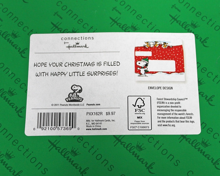 18 Peanuts Snoopy Connections Hallmark Christmas Cards and Matching Self-Sealing Envelopes PXX162R