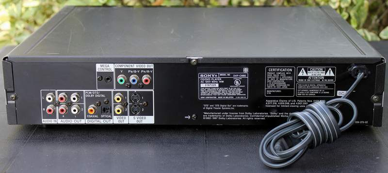 Rear view of the SONY DVP-C660 5-Disc DVD Player