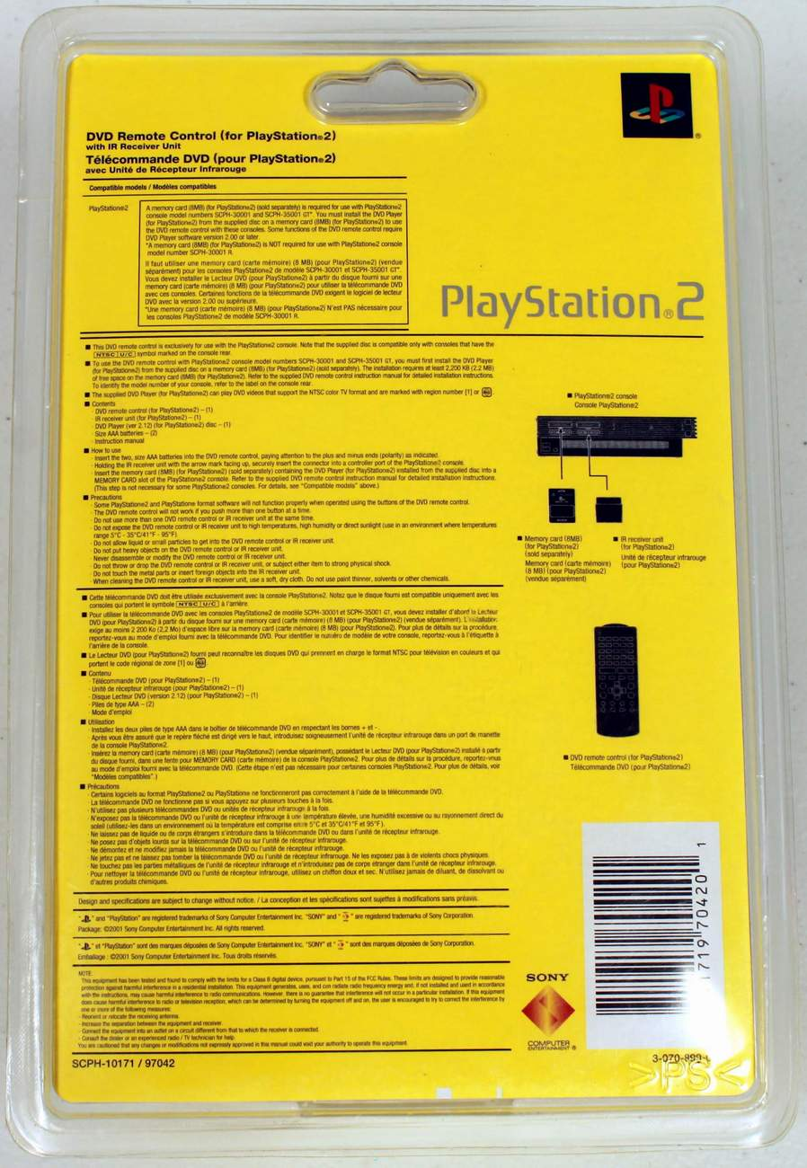Sony Playstation 2 Ps2 Dvd Remote Control With Ir