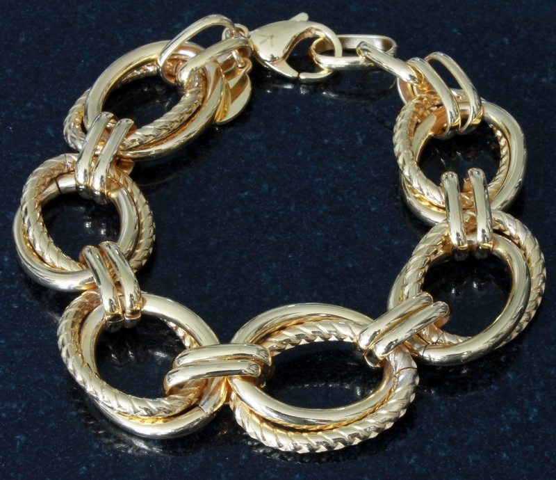 Steel by Design Twisted and Polished Oval Link Bracelet 8 inch 18K Yellow Gold Plated Stainless Steel