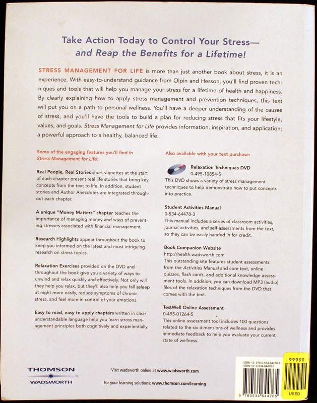Back Cover - Stress Management for Life: A Research-Based Experiential Approach (with Stress Relief DVD, Activities Manual, and InfoTrac 1-Semester Printed Access Card)