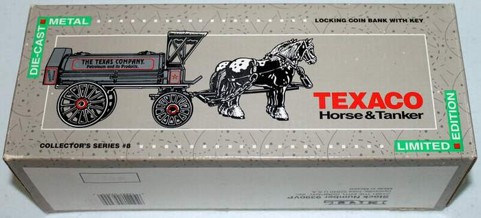 TEXACO Collector's Series No. 8 Horse and Tanker Locking Coin Bank with Key