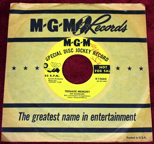 The Bachelors Special Disc Jockey Promo Copy K12668 - MGM Records