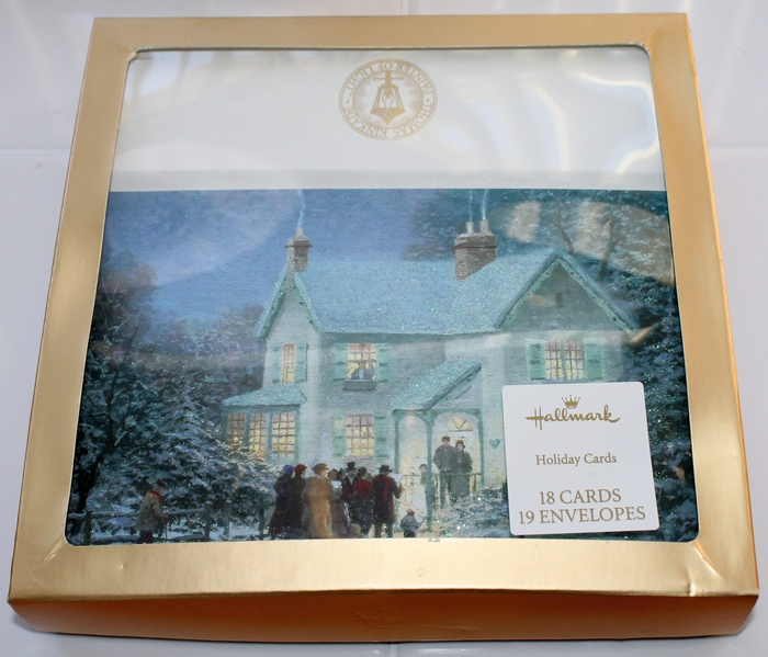 Hallmark Box of 18 Thomas Kinkade -Evening Carolers- Christmas Cards - New in Box PX3124