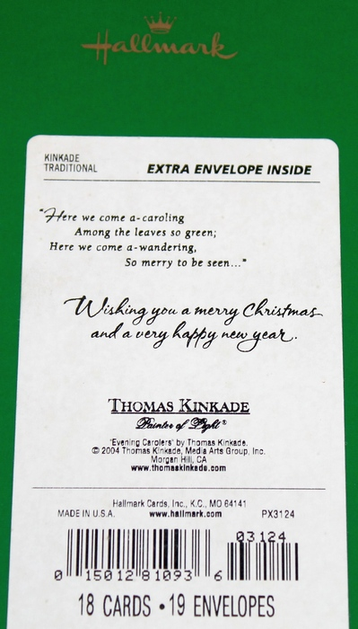 Hallmark Box of 18 Thomas Kinkade -Evening Carolers- Christmas Cards - New in Box PX3124