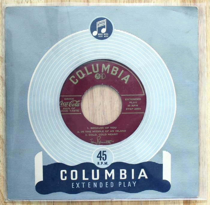 Tony Bennett 45 Extended Play with 6 songs Coca Cola Promo on Columbia Label kept in original cover inside a plastic jacket.  Released as promo for Coca-Cola circa 1960s.