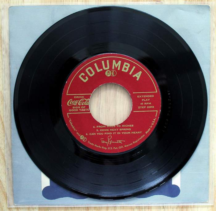 Side 2 - Tony Bennett 45 Extended Play with 6 songs Coca Cola Promo on Columbia Label kept in original cover inside a plastic jacket.  Released as promo for Coca-Cola circa 1960s.