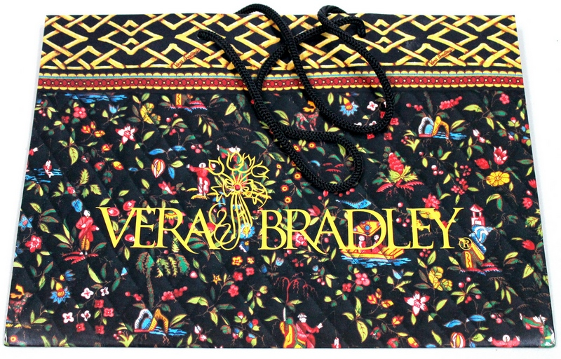 "Vera Bradley Drawstring Handle Gift Shopping Bag Measures: 13-7/8"" x 10"" x 6"""