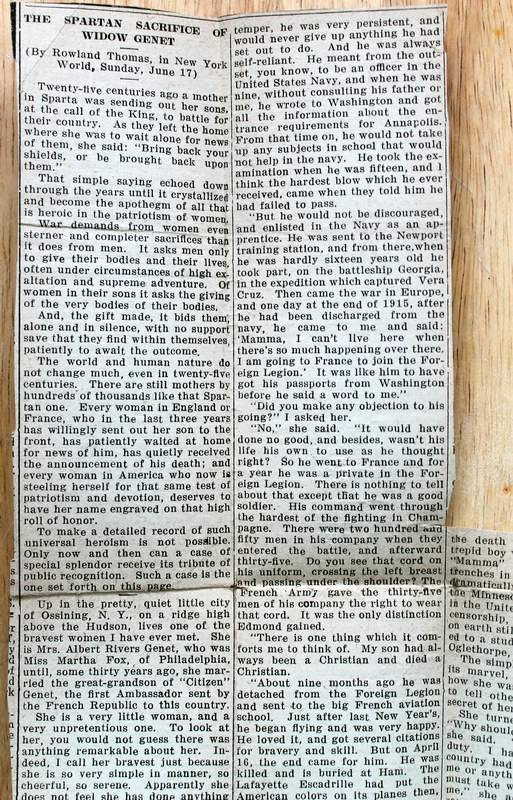 """With this book, I will include this original newspaper clipping from the now defunct New York World newspaper.  The article is entitled , """"The Spartan Sacrifice of Widow Genet"""" by Rowland Thomas, Sunday June 17th, 1917.  The article contains a bit of the history of the Genet Family and the interview of the widowed mother of Edmond Genet.  This is a one of a kind collectable.  You get the book and the original New York World newspaper clipping from 1917.  Very Rare."""