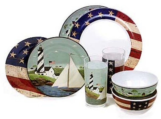 Warren Kimble Coastal Breeze 48-Piece Melamine Service for 12 QVC product H7831