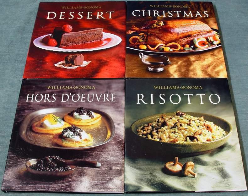 4 Williams-Sonoma Cookbooks: Dessert ~ Christmas ~ Hors D'Oeuvre ~ Risotto